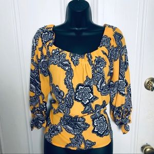EXPRESS GOLD & BLACK PAISLEY SCOOP NECK BLOUSE